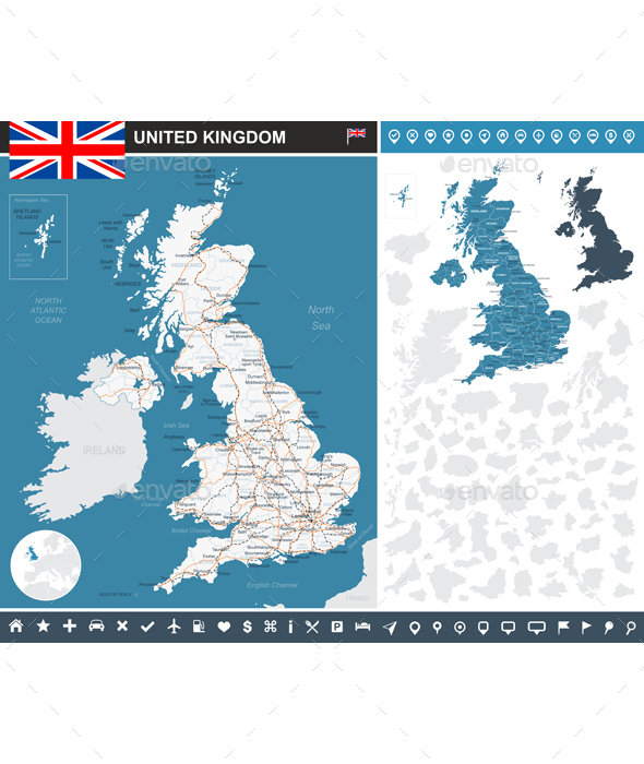 United Kingdom Infographic Map - Travel Conceptual