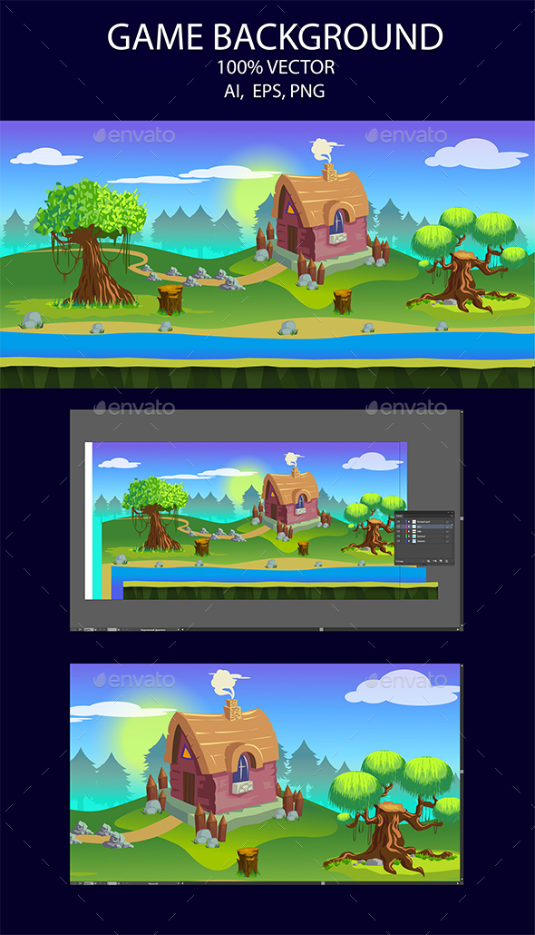 Game Background Country House - Backgrounds Game Assets