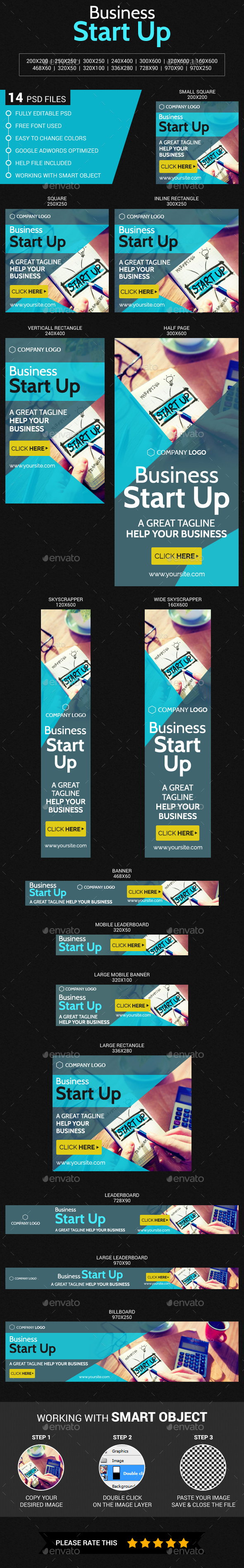 Business Start Up - Banners & Ads Web Elements
