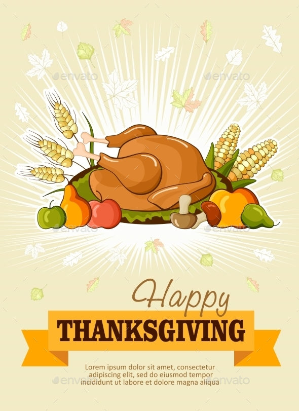 Thanksgiving Day. Greeting Card. Vector Poster - Seasons/Holidays Conceptual