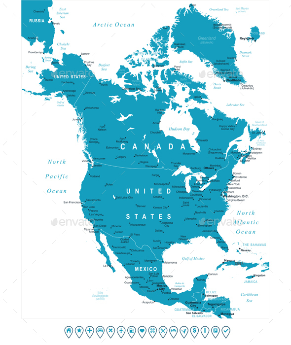 North America Map and Navigation Labels