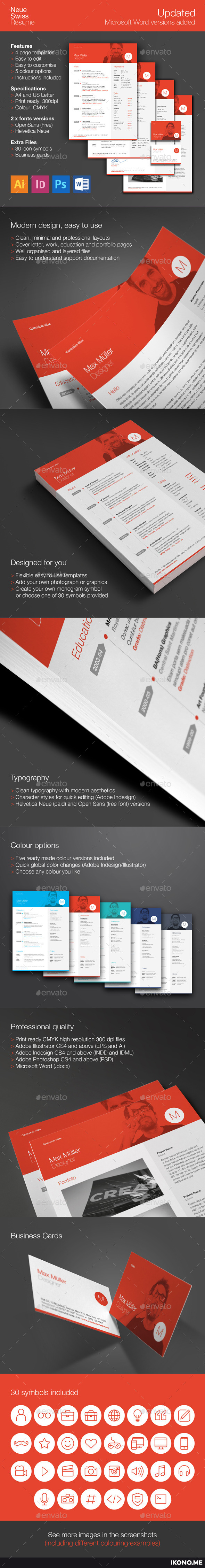 Neue Swiss Resume CV by ikonome | GraphicRiver