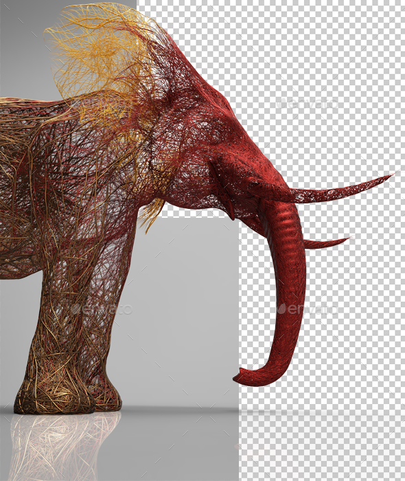 Creative Elephant Wire Colorful  - Characters 3D Renders