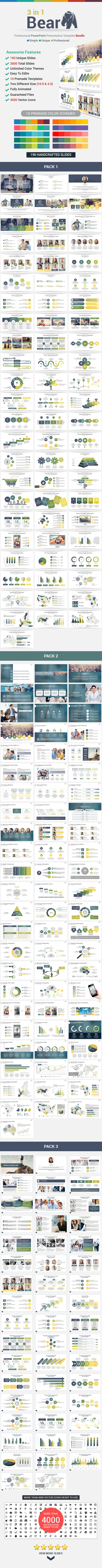 3 in 1 Bear PowerPoint Template Bundle - Business PowerPoint Templates