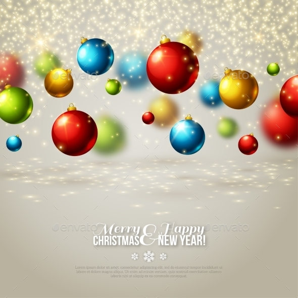 Christmas Background With Colorful Balls.  - Christmas Seasons/Holidays