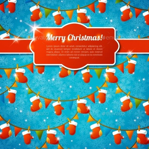 Xmas Greeting Card With Red Frame, Ribbon - Christmas Seasons/Holidays