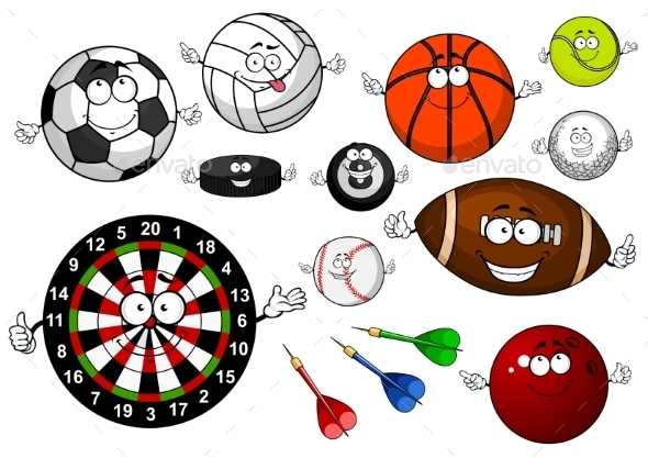 Cartoon Sport Game Items And Equipment - Sports/Activity Conceptual