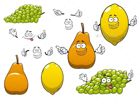Lemon, Green Grape And Pear Fruits - Food Objects