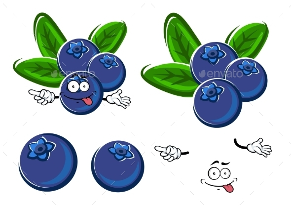 Cartoon Blueberry Fruits Character With Leaves - Food Objects