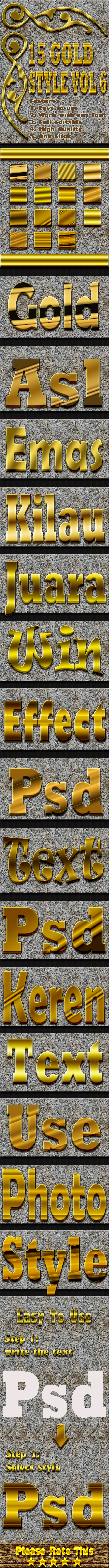 15 Gold Text Effect Style Vol 6