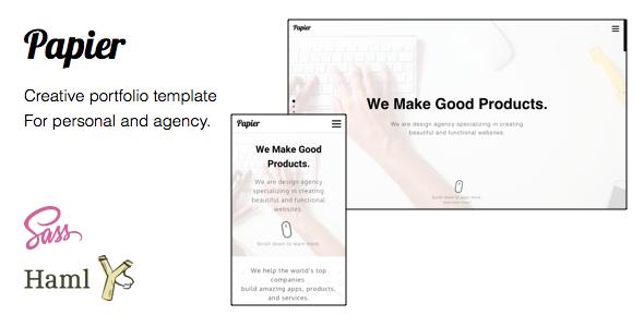 Papier – Creative Portfolio Template for Agency