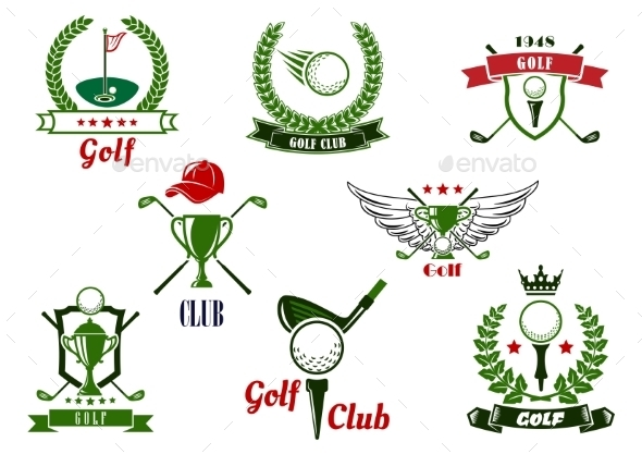 Golf Club Emblems And Icons With Game Items