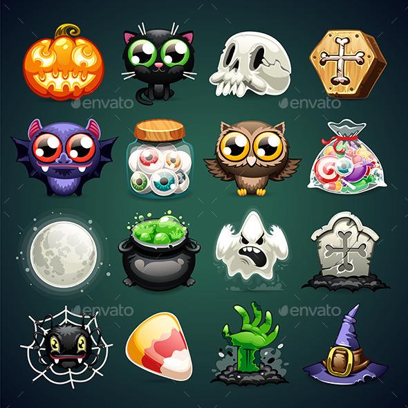 Halloween Cartoon Icons Set - Halloween Seasons/Holidays