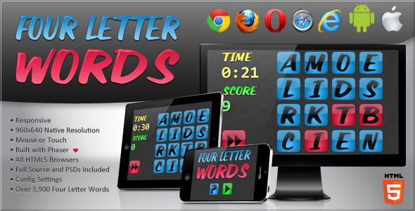 four letter words html5 word game by bitwisecreative codecanyon