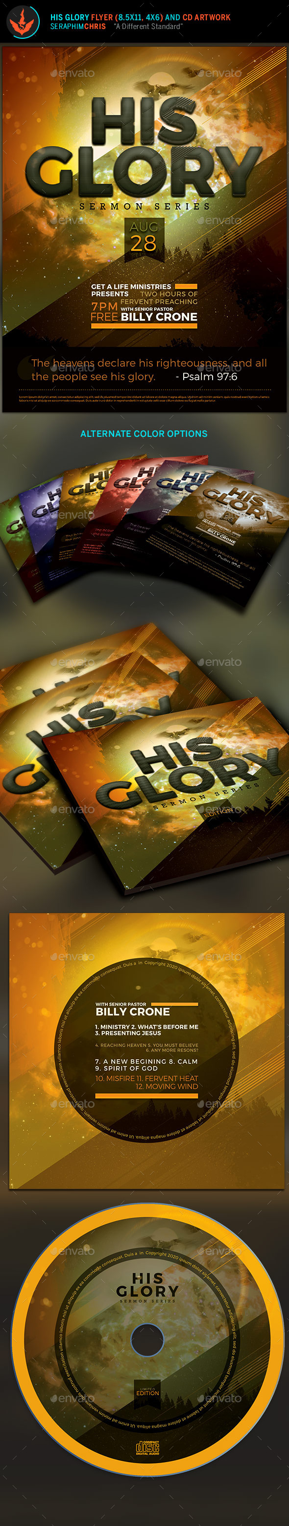 His Glory Flyer and CD Template - Clubs & Parties Events