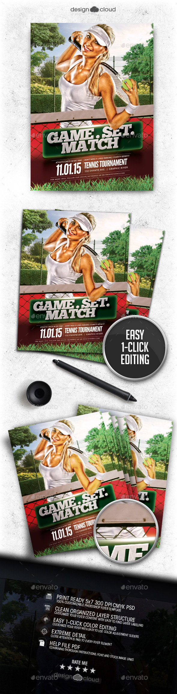 Game. Set. Match Tennis Flyer Template - Sports Events