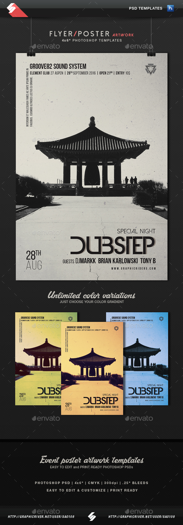 Dubstep - Minimal Poster, Flyer Template - Clubs & Parties Events