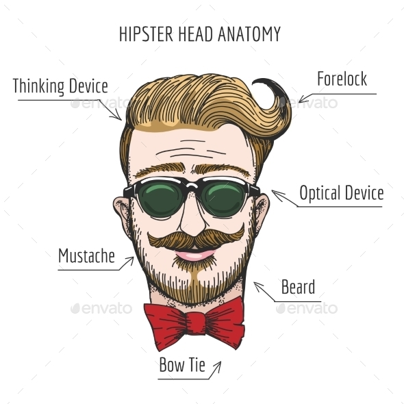 Hipster Head Anatomy - People Characters