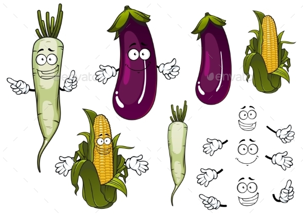 Corn Cob, Daikon And Eggplant Vegetables  - Food Objects
