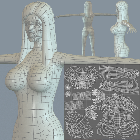Female Medium Polygon Base Mesh - 3DOcean Item for Sale