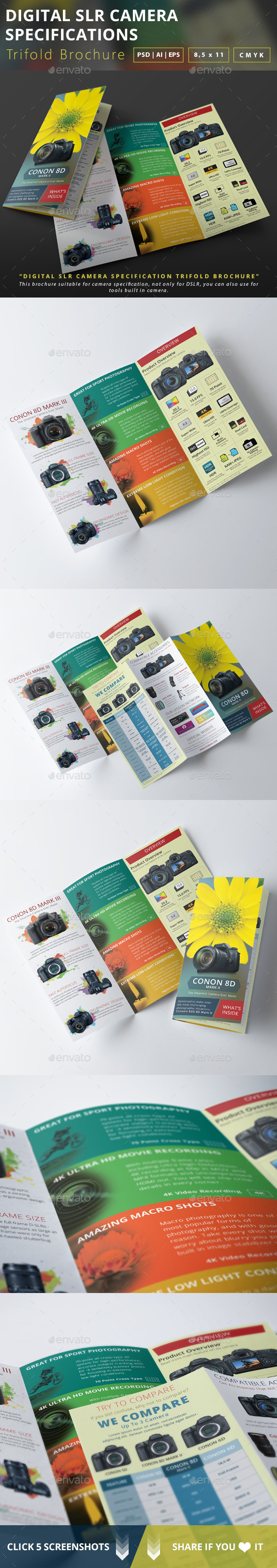 Digital Slr Camera Specifications Trifold Brochure - Brochures Print Templates