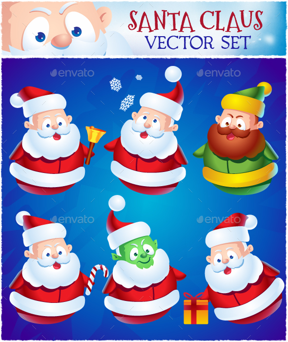 Cartoon Santa Claus Set  - People Characters