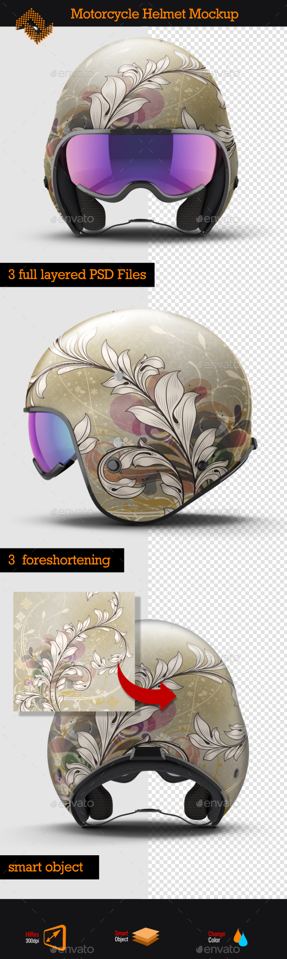 Open Face Motorcycle Helmet Mockup - Product Mock-Ups Graphics
