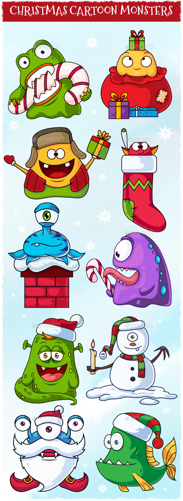 Christmas Cartoon Vector Monsters Set - Animals Characters