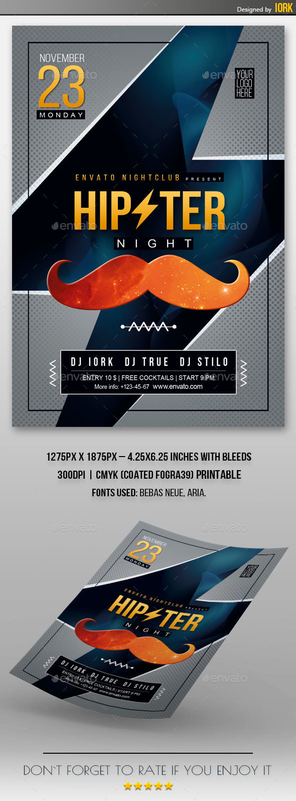 Hipster Night Flyer - Clubs & Parties Events