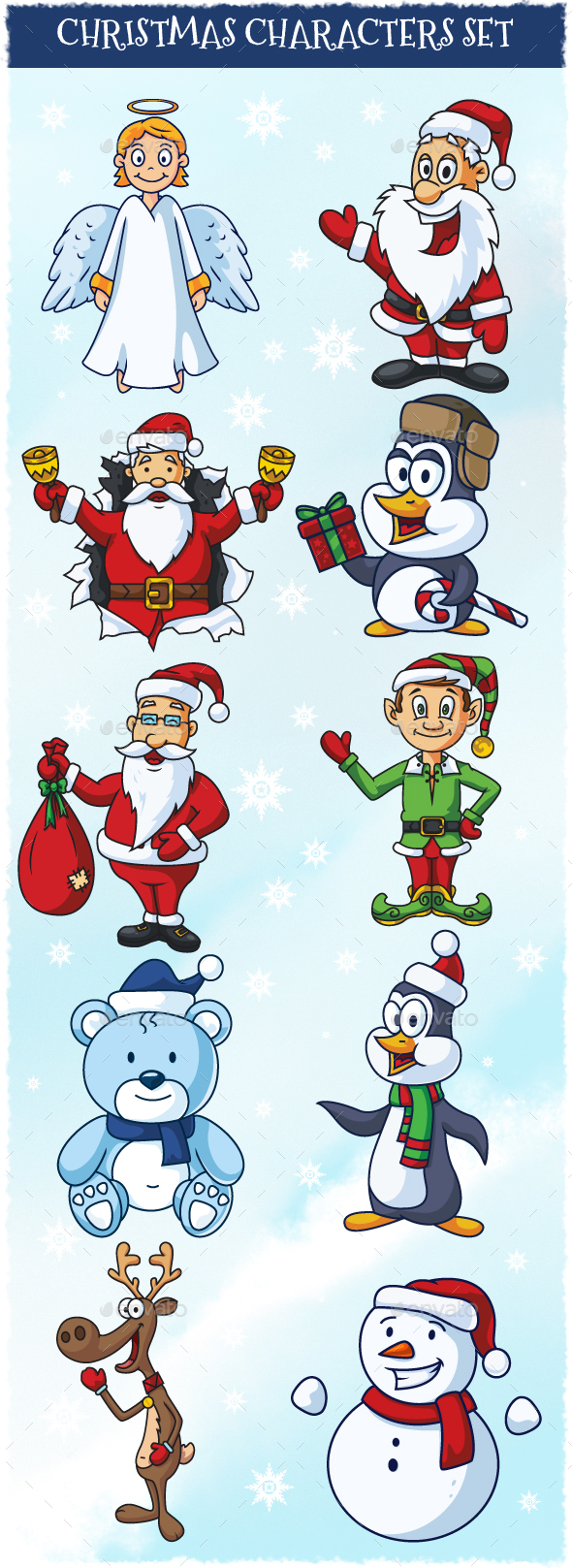 Christmas Cartoon Vector Characters Set