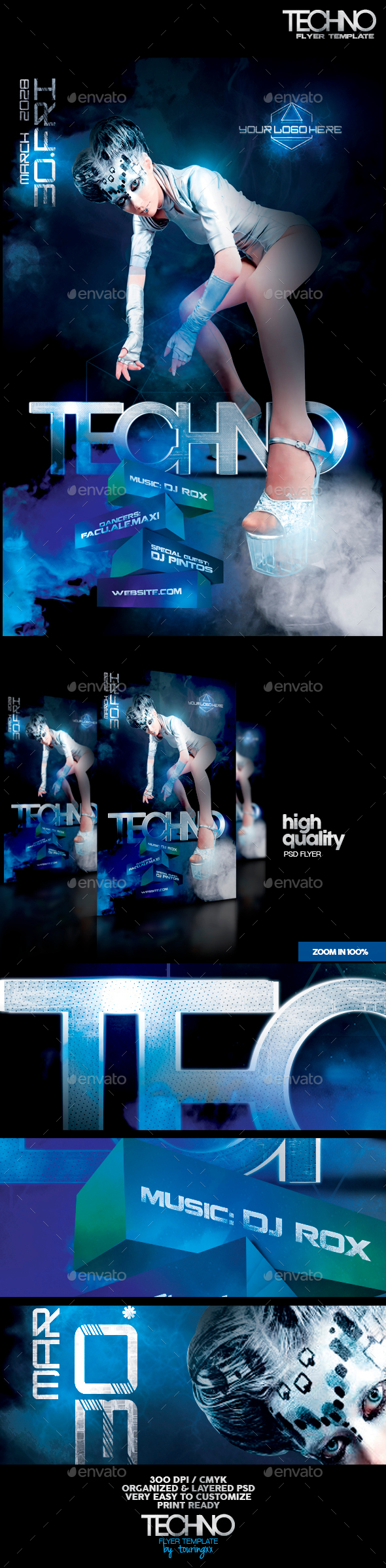 Techno Flyer Template - Clubs & Parties Events