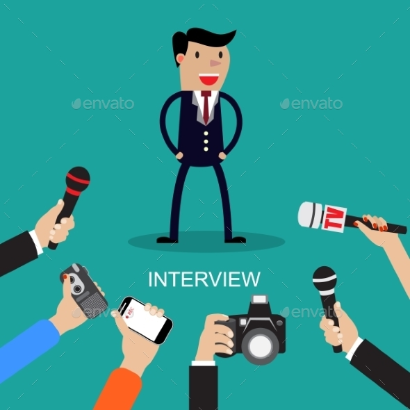 Media Conducting a Press Interview - Concepts Business