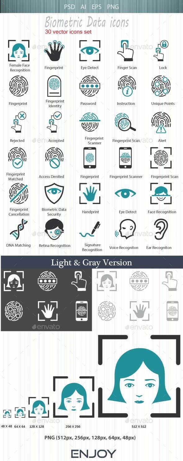 Biometric Authentication Icons - Web Icons