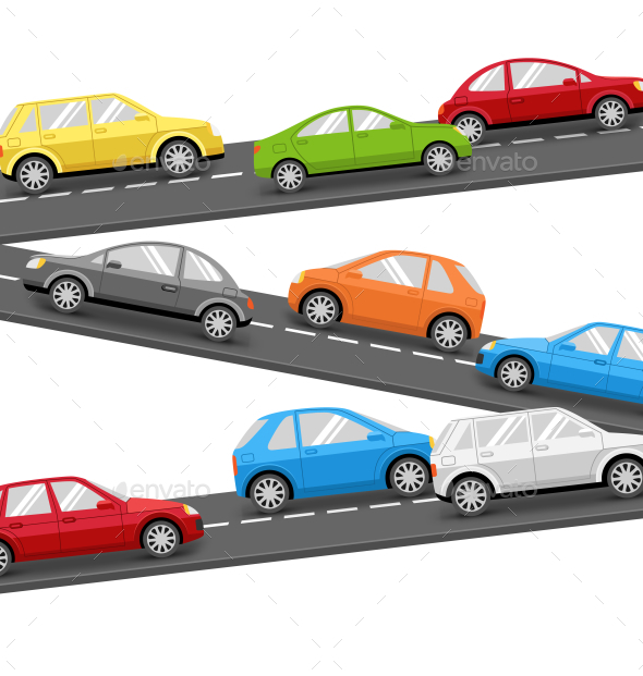 Multicolored Cars on Road Transport Background