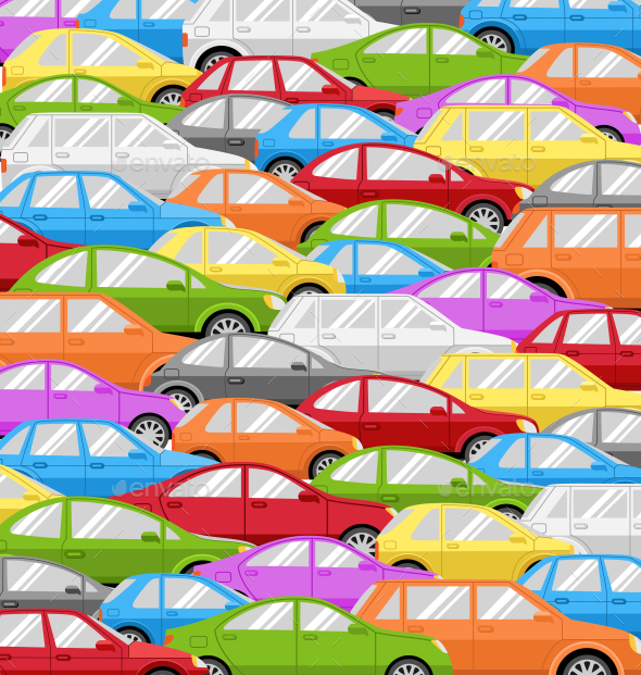 Traffic Jam With Cars. Problem Road Background - Miscellaneous Vectors