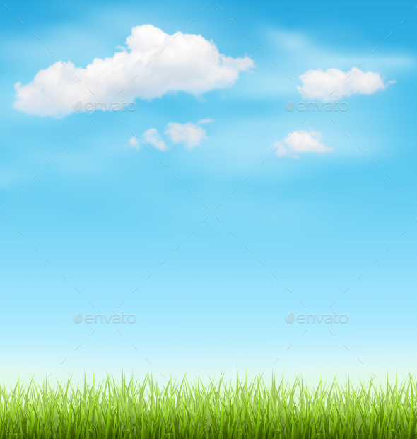 Green Grass Lawn with Clouds on Light Blue Sky