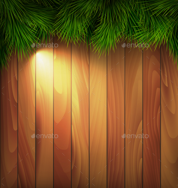 Christmas Tree Pine Branches with Light on Wooden - Nature Conceptual