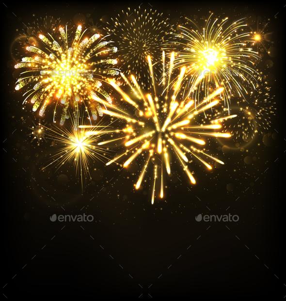 Festive Firework Salute Burst on Black Background - Seasons/Holidays Conceptual
