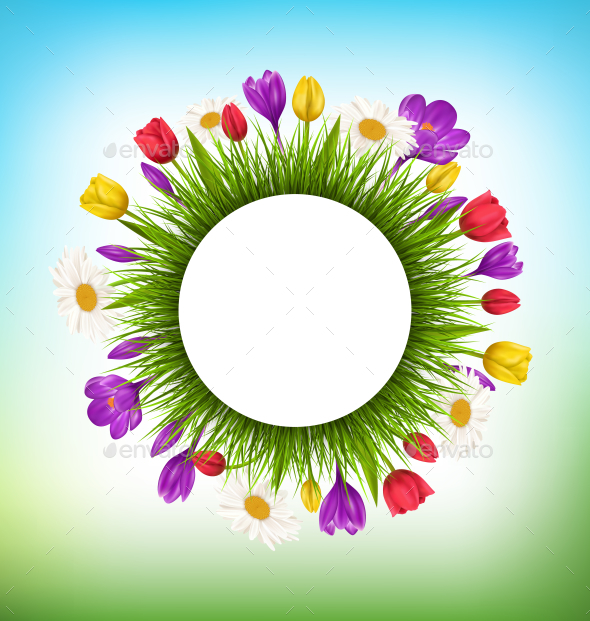 Circle Frame with Green Grass and Flowers - Flowers & Plants Nature