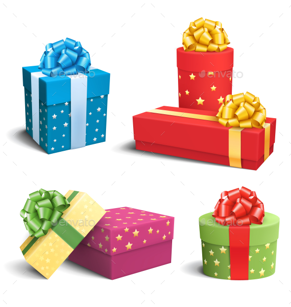 Set of Colorful Celebration Gift Boxes with Bows - Seasons/Holidays Conceptual