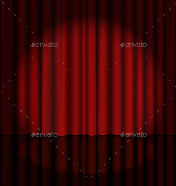 Red Stage Curtain with Light Spot - Backgrounds Decorative