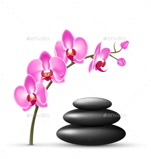 Stack of Spa Stones with Orchid Pink Flowers
