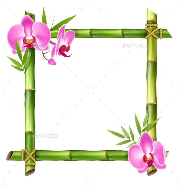 Green Bamboo Frame with Pink Orchid Flowers