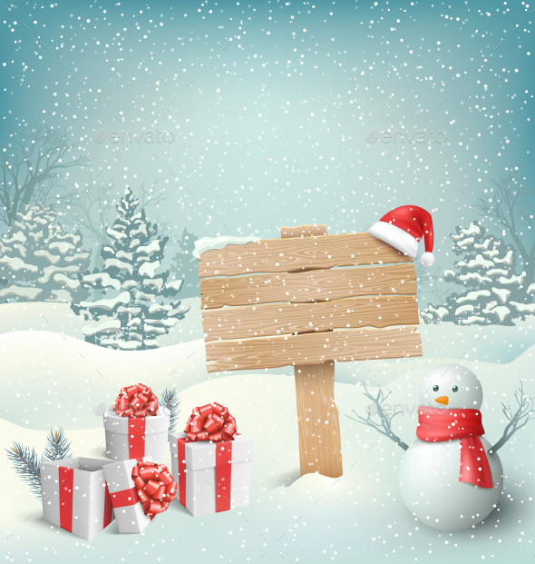 Christmas Winter with Signpost Snowman Gift Boxes - Christmas Seasons/Holidays