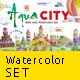 Watercolor set AQUA CITY Constructor - GraphicRiver Item for Sale
