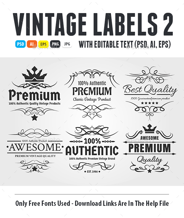 Vintage Labels 2 - Badges & Stickers Web Elements