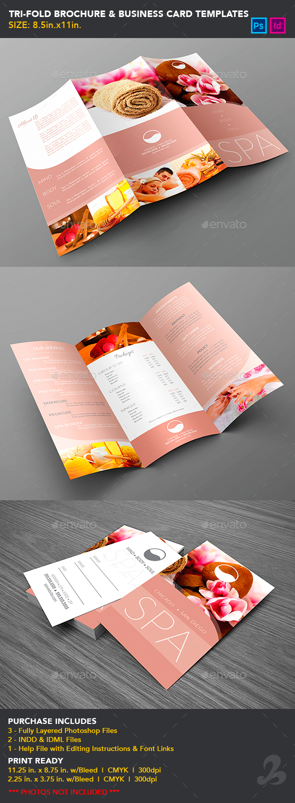 Tri fold brochure business card templates spa by creativb tri fold brochure business card templates spa brochures print templates colourmoves