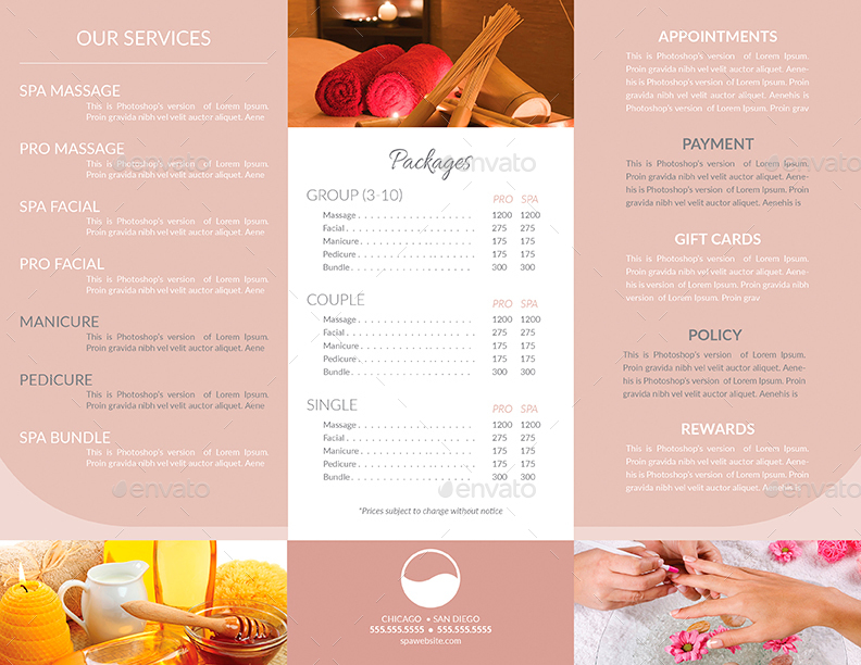 TriFold Brochure  Business Card Templates  Spa By Creativb