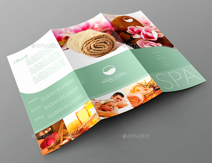 TriFold Brochure Business Card Templates Spa By CreativB - Tri fold business card template