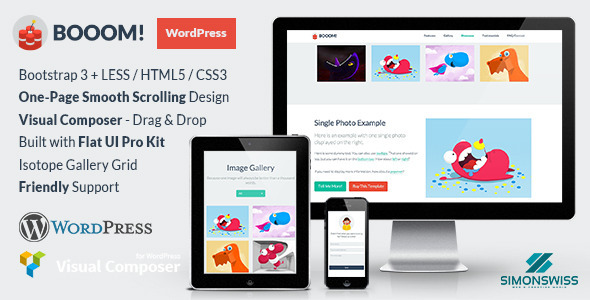 Booom! – WordPress Theme with the Flat UI Pro Kit